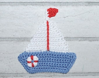 1 boat - sailing boat - patches - crochet - application
