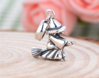 sterling silver charms Authentic  silver charm Witches charm beads perfect fit for Pandora and troll or European bracelets