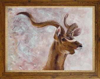 ORIGINAL PAINTING || Framed painting, kudu painting, Deer painting, antelope painting, african art, african painting, acrylic painting