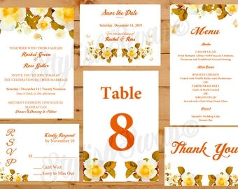 Orange Blossoms Printable Wedding Invitation Suite