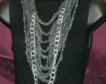 Black & Grey T-Shirt Necklace with Chain