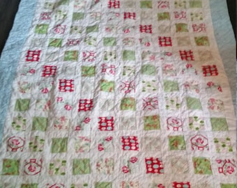 Twin xl floral quilt shabby chic cottage style