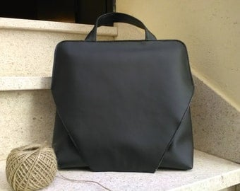 Black faux leather bag, Lorenza bag, handmade in Italy, gift, gifts for you, black bag