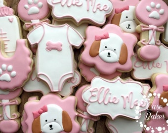 Puppy Baby Shower cookies - 1 dozen