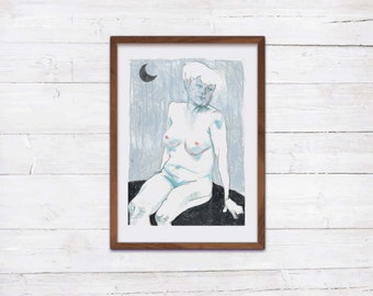 Moonlight A4 print nude drawing
