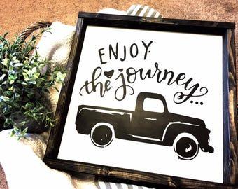 Enjoy the journey, Farmhouse sign, Journey, Inspire, Create, Home Decor, Wood Signs, Rustic Decor