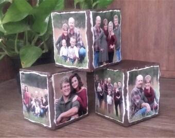 Custom Wood Photo Blocks ~ Set of 3, Photo cubes, Home & Office Decor, Photo Gifts, Photo Blocks
