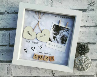 Anniversary Gift, Wedding Gift, Personalised Frame Scrabble, Gifts for Her, Gifts For Him, Scrabble Art, Photo Frame Keepsake Love