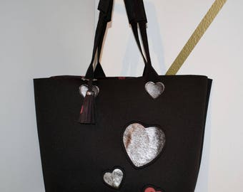 Neoprene bag with inserts hearts glitter