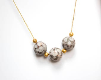 Faceted Mai Jasper and Gold Beads Necklace