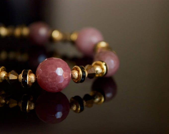 Strawberry Quartz and Aventurine Beaded Bracelet