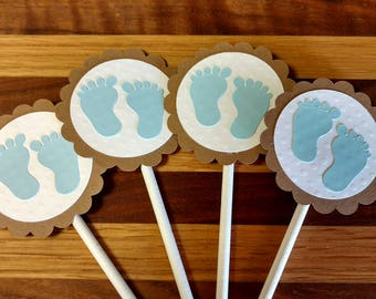 Baby Boy Feet Cupcake Toppers