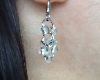"""Simple and Elegant Crystally Clear Glass Bead """"Just Because"""" Dangly Earrings"""