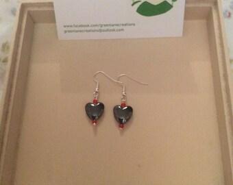 Two Bead Haematite Heart Earrings