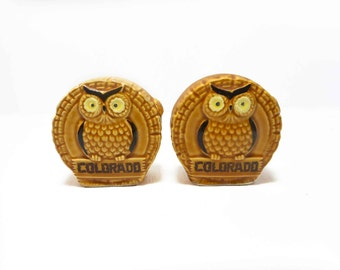 Vintage 70s Colorado Log Slice and Owl Salt and Pepper Shakers Souvenir Niceland Knolls