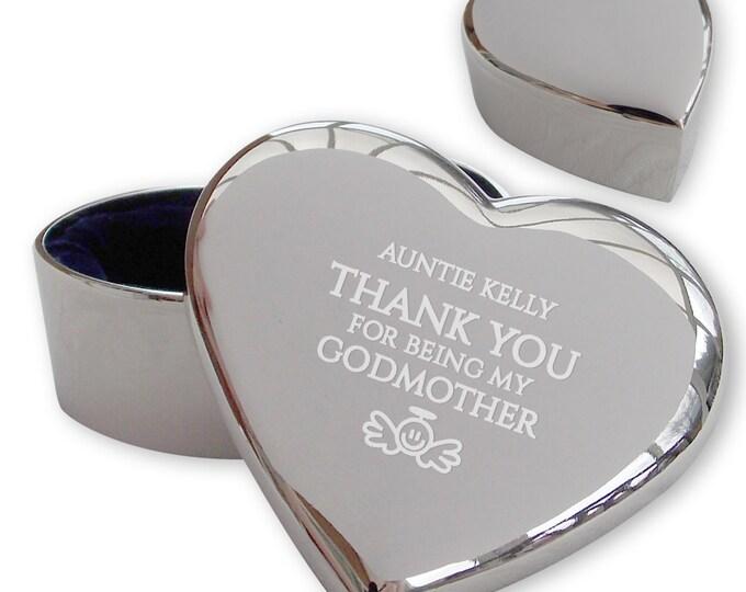 Personalised engraved GODMOTHER heart shaped trinket box christening, baptism gift idea  - GODM1