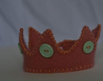 Pink, Orange, and Blue Small Wool Crown