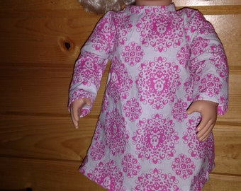 18 inch doll dress with pink skull pattern