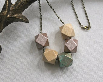 Chunky Necklace | Modern Geometric Statement Necklace | Mink Pearl, Natural, Rustic Effect Green | Hand Painted Bead | Antique Bronze Chain