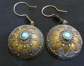 Afghan-ethnic Silver earrings earrings-handmade jewelry-TURQUOISE earrings-earrings-silver splendidido gift collectibles