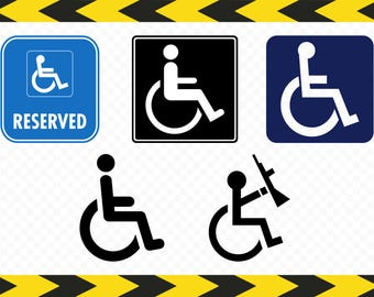 Hendicap Handicapped Wheelchair Disabled person SVG Printable Decal Clipart Dxf Pdf Png files