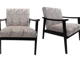 Pair of Mid-Century Chairs, Upholstered in Black and White Fabric