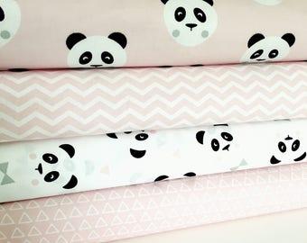 Pink Panda Fabric Collection - Panda, Chevron & Triangles