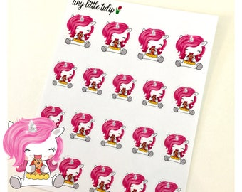 Planner Stickers Unicorn Eating Pizza Stickers