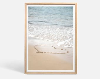 Heart Photography, Ocean Print, beach wall art, romantic art, heart in sand, nautical decor, beach photo, beach art, ocean photography