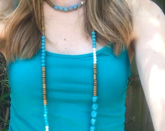 Teal and wood bead long wrap necklace