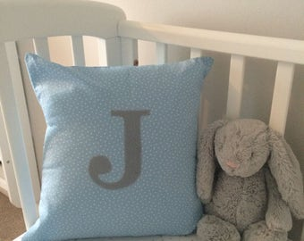 Personalised Cushion, Initial Cushion, Appliqued Cushion, Baby Gift, Personalised Baby Gift, Blue Cushion with White Stars
