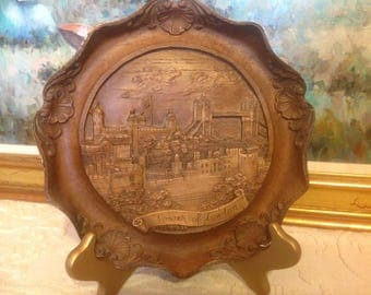 Vintage Carved Wood Resin 3D Plate Tower of London