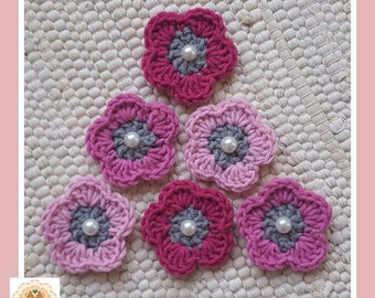 Crochet Flower Embellishments, Crochet Flower Appliques, 6 Crochet Flowers