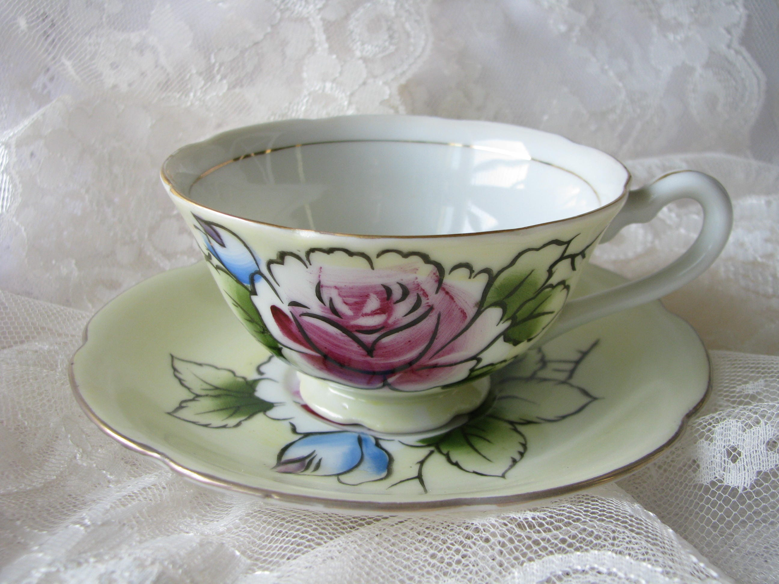 Shafford Cup Yellow Cup Hand Painted Cup Flower Cup Pink Rose Cup