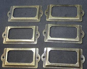 A set of 6 vintage aged brass filing cabinet label holder 60 x 30mm with screws