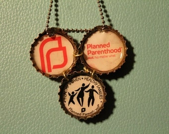 Planned Parenthood Bottle Cap Necklace
