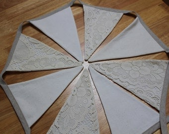 Lace and Speckled Cotton Fabric Bunting