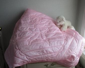 Tricot Baby Blanket, Pink Ballerina Quilt, Crib Quilt, Baby Toddler Blanket, Baby Girl Quilt Nursery Bedding