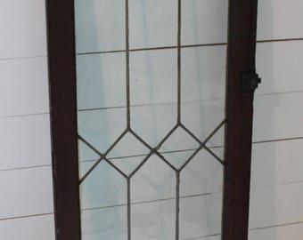 Architectural salvage leaded glass cabinet door/ Large vintage leaded glass window/door