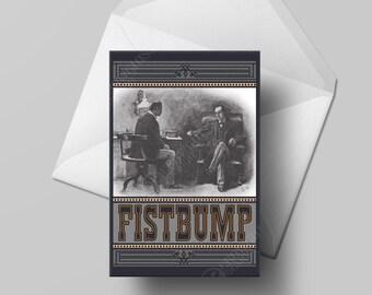 Fistbump—Greeting Card Congrats Sherlock Holmes Humor Victorian Congratulations 4x5.5