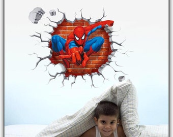 3D Cartoon Spider Man Decal Mural Wall Stickers For Kid Rooms - Home Decoration Boy Room Kid Room