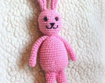 Handemade pink bunny rabbit toy knit