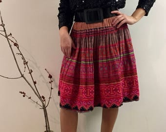 70s/Terracotta with Vibrant Pink Hued Embroidery/ Boho Chic Circle Skirt/ Large