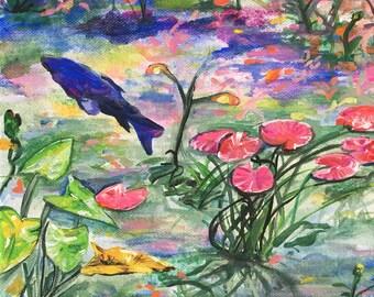 Koi Pond Original Acrylic Painting