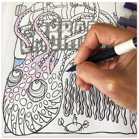 Printable Octopus Embrace Colouring Page