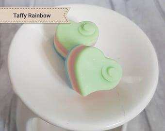 Soy Wax Hearts - Taffy Rainbow - Soy Wax Melts - Fragranced Wax Tarts - Glitter Wax Melts - Soy Wax Tarts - Handmade Wax Hearts