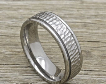 Men's Titanium Wedding Band With Hammered Brushed Finish, 7mm Comfort Fit Ring
