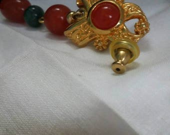 Avon vintage amber and green beads on goldstone. Victorian look dangling pierced earrings