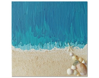 Secrets of the Sea - abstract acrylic with modeling paste, shells and sand with turquoise and blue. UNIQUE and EXCLUSIVE.