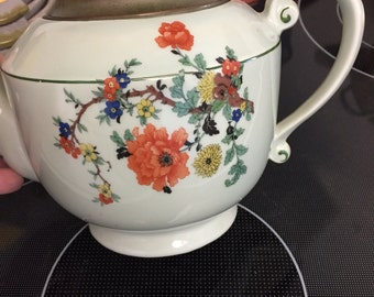Vintage Royal Rochester Royalite Teapot Hand Painted - Light green with extraordinary detail - Must have! LOWERED PRICE!